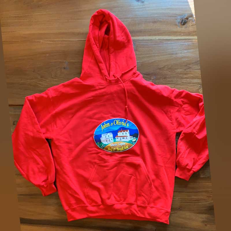 Red Hoodie with Large Logo